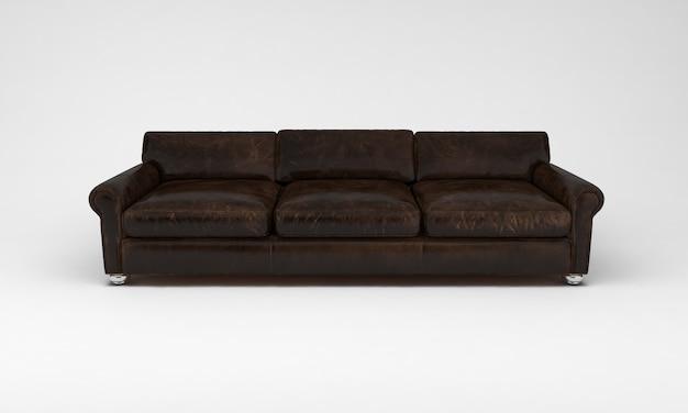Шоколадно-коричневый диван трехместный мебель вид спереди 3d-рендеринг
