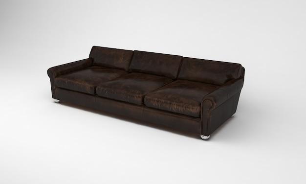 Шоколадно-коричневый диван трехместный сбоку мебель 3d рендеринга