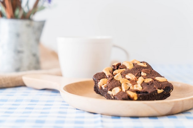 Chocolate brownies on table