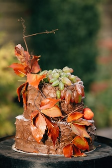 Chocolate cake. Cake decorated with autumn leaves. Cake on a wooden barrel.