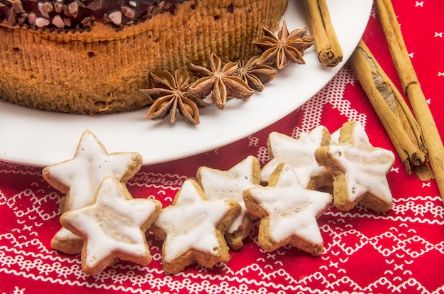 Chocolate cake on christmas patterned cloth