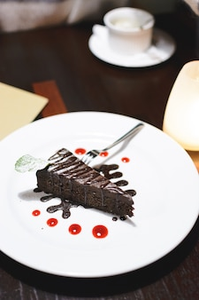 Chocolate cake for dessert after dinner