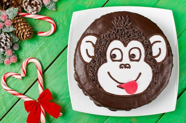 チョコレートケーキモンキー。新年のシンボル