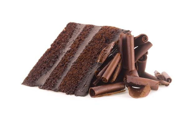 흰색 바탕에 컬 초콜릿 케이크 조각