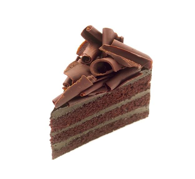 흰색 표면에 컬 초콜릿 케이크 조각