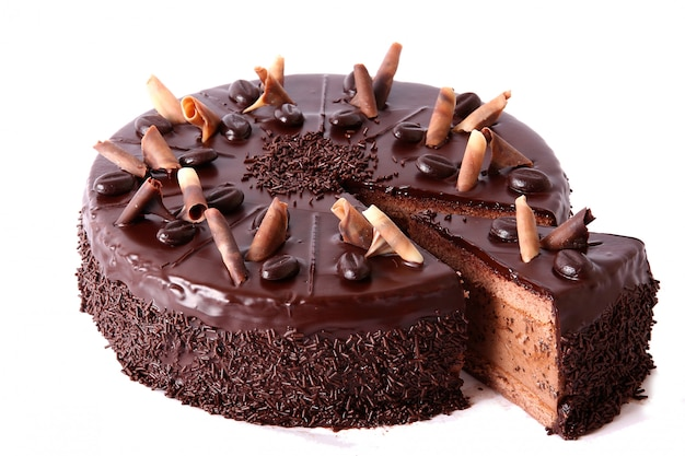 Chocolate cake with chocolate sprinkles