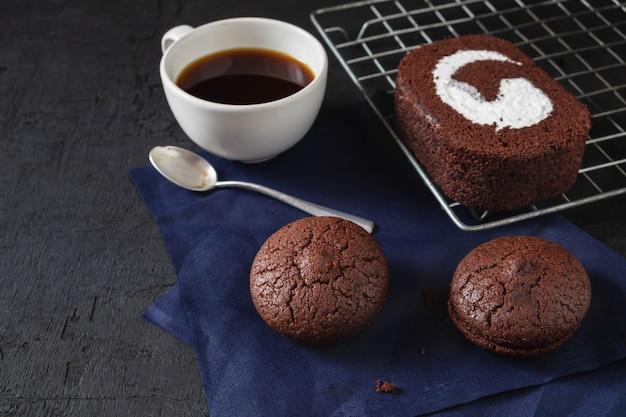 Chocolate cake with coffee