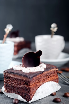Chocolate cake with a cup of coffee