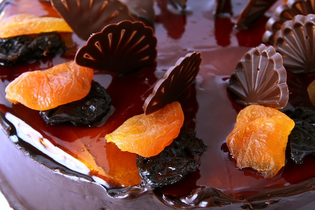 Chocolate cake with dried fruit