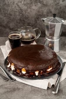 Chocolate cake with fresh coffee