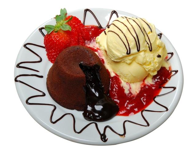 Chocolate cake with fresh, ice cream