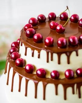 가벼운 소박한 나무 배경에 신선한 유기농 체리와 초콜릿 케이크.