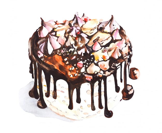 Chocolate cake with meringue and marshmallows, watercolor drawing   for design