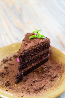 Chocolate cake with mint on plate in cafe and restaurant