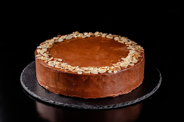 Chocolate cake with nuts and peanut butter