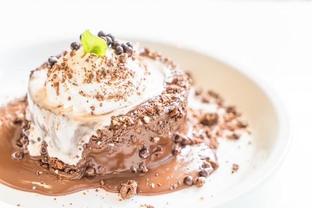 Chocolate cake with vanilla ice-cream