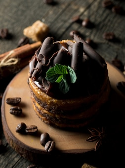 Chocolate cakes on dark background.