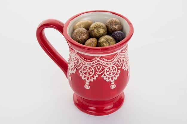 Chocolate and candies in a christmas mug for christmas