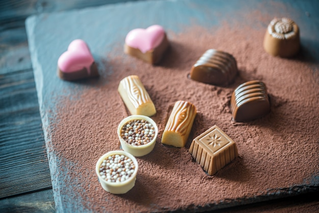 Chocolate candies with cocoa