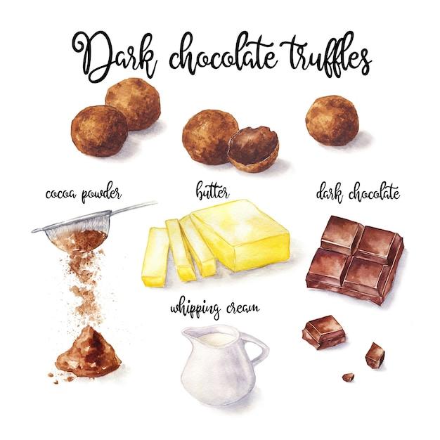 Chocolate candy. watercolor recipe illustration pf truffles