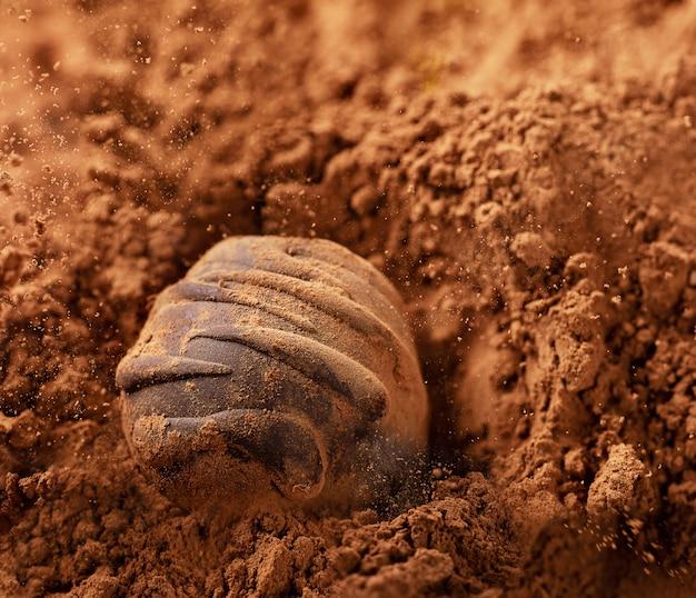 砂糖なしのチョコレート菓子がココアに落ちています。生ビーガンチョコレートキャンディ。