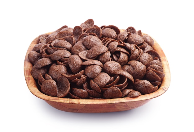 Chocolate cereal in bowl on white background