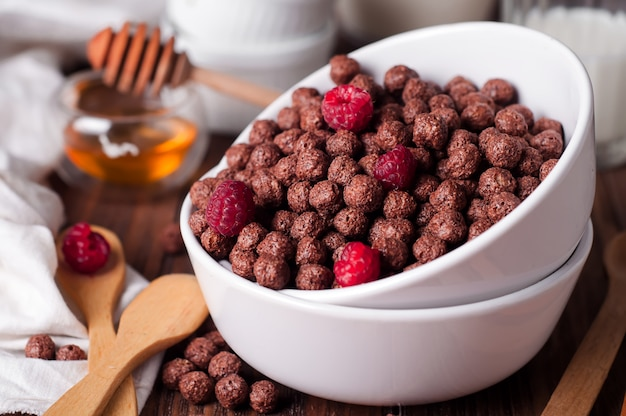 Chocolate cereal rings in bowl