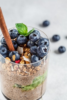 Chocolate chia pudding with fruits, granola and berries in glass.