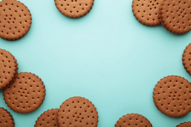 Chocolate chip cookie on blue background.top view.