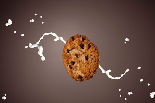 Chocolate chip cookie with a splash of milk.