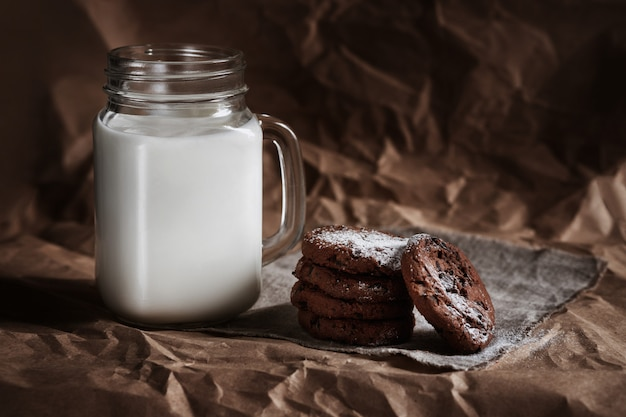 Chocolate chip cookies and a glass of milk. homemade baking. cooking