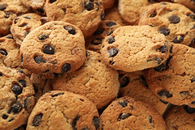 Chocolate chip cookies on whole background. texture background