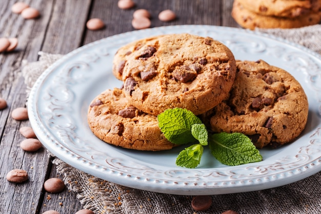 Chocolate chip cookies with mint and chocolate drops, selective focus.