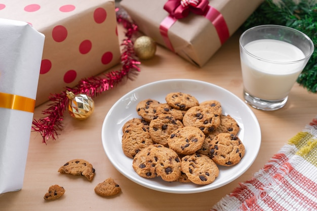 Chocolate chip and milk  an appetizer for morning holiday