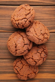 Chocolate chips cookies on brown wooden