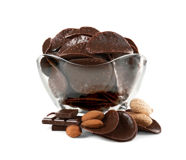 Chocolate chips and nuts in glass vase