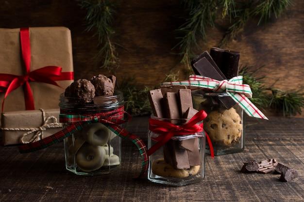 Chocolate and christmas concept