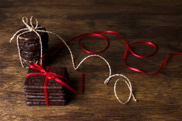 Chocolate and christmas concept