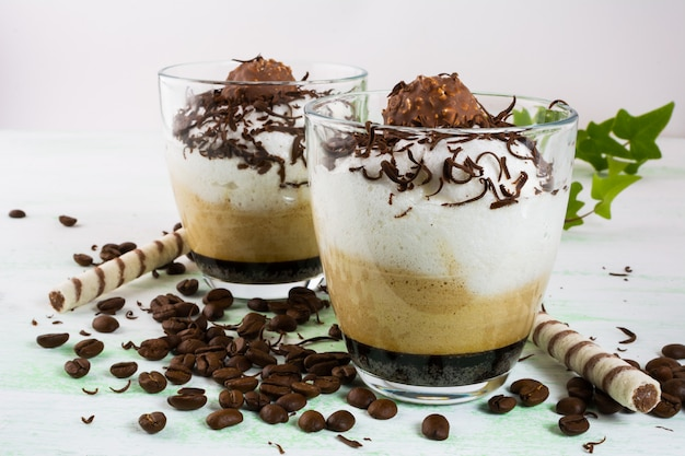 Chocolate cocktail with cream