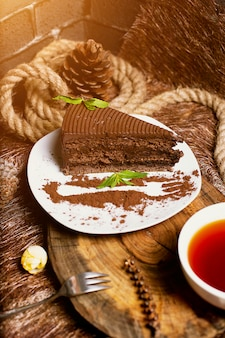 Chocolate cocoa cake slice served with mint leaves