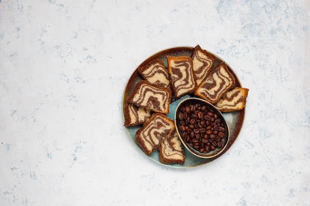 Chocolate,coffee and vanilla gluten free marble cake, homemade pound cake.