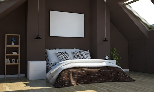 Chocolate color bedroom with horizontal poster mockup
