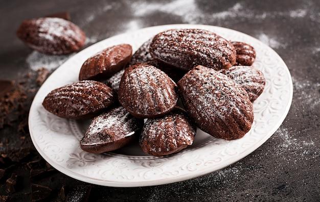 Chocolate cookies on black table