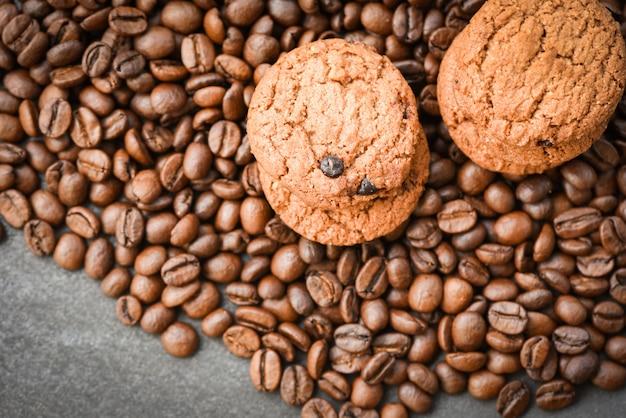 Chocolate cookies coffee beans roasted