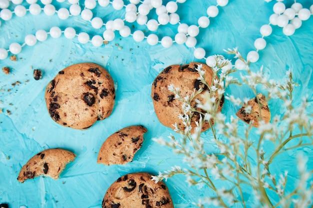 Chocolate cookies. healthy morning breakfast