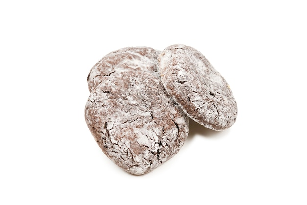 Chocolate cookies isolated on white background.