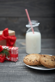 Chocolate cookies and milk for santa claus