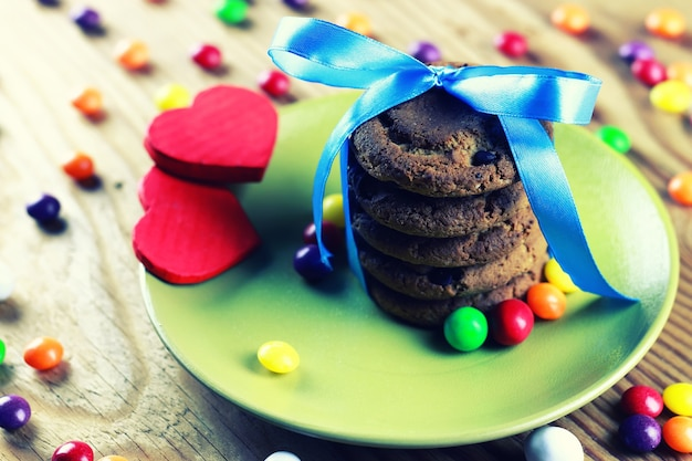 Chocolate cookies ribbon candy