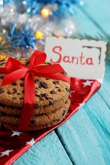 산타 카드와 초콜릿 쿠키