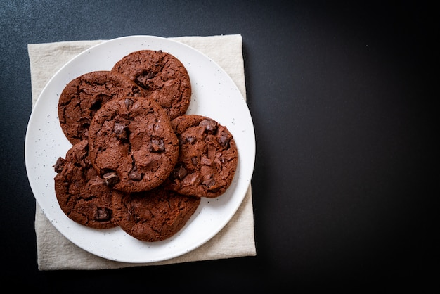 Chocolate cookies with chocolate chips